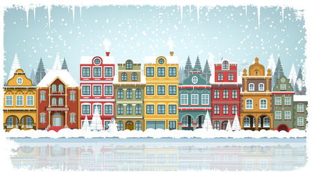 snow tree: Vector illustration of old city in winter Illustration