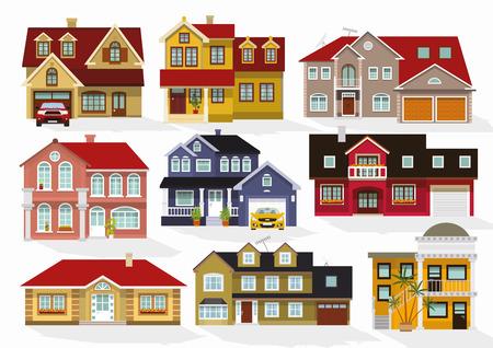 albergo: Illustrazione vettoriale di case collezione Vettoriali