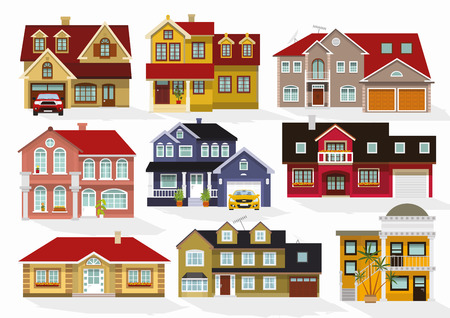 old style: Vector illustration of houses collection
