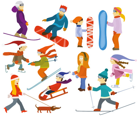 sledge dog: Vector illustration of people Winter sports activities