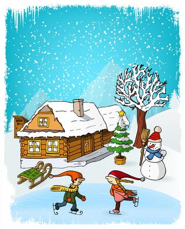 winter scenery: Vector illustration of hand drawn winter scenery Illustration