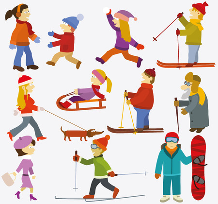 cross country skiing: Vector illustration of people Winter sports activities