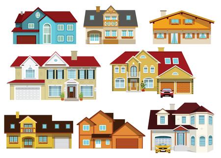 Fachada: Ilustración del vector de la recogida de casas de la ciudad moderna colorida Vectores