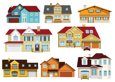 modern house exterior: Vector illustration of colorful modern city houses collection Illustration