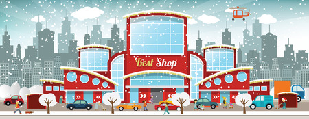shopping mall: Vector illustration of shopping center in the city  Winter