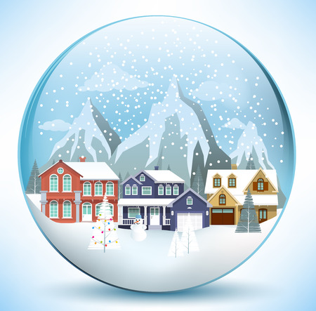 Vector illustration of christmas sphere with houses Illustration