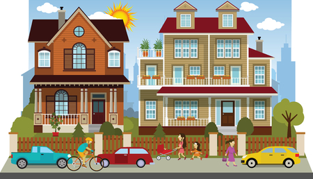 diorama: Vector illustration of family houses diorama