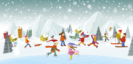 family moving house: Vector illustration of winter landscape and winter activities