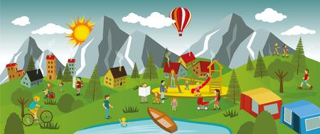 Vector illustratie van de zomer landschap en zomeractiviteiten