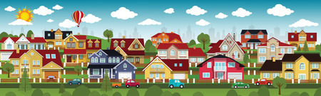 suburbs: Vector illustration of life in the suburbs (various houses collection)