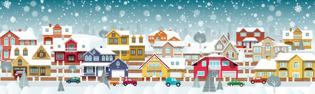 suburbs: Vector illustration of life in the winter suburbs (various houses collection)