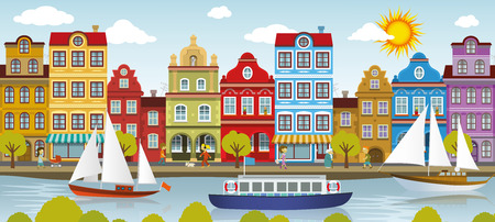 fishing village: Vector illustration of old historical european city by the river