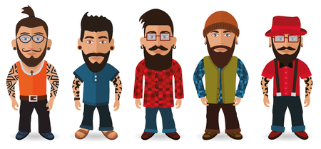 zapatos caricatura: illustration of bearded men group hipsters