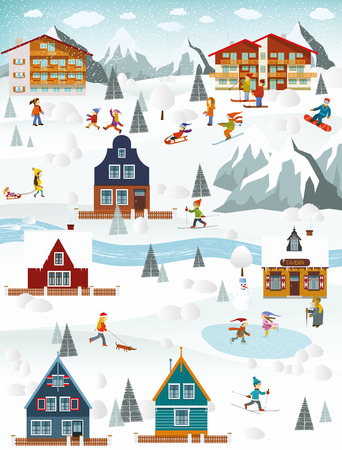 illustration of winter landscape and winter activities Stock Illustratie