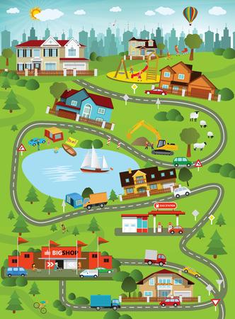 Ilustración - paisaje de la ciudad del verano