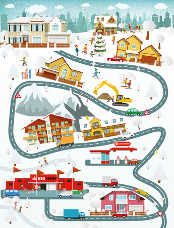 winter car: illustration -  winter city landscape Illustration