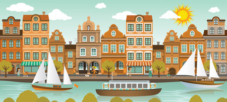 old ship: illustration of old historical european city by the river