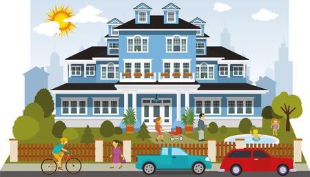 Illustration de la maison de famille victorian Banque d'images - 55110024