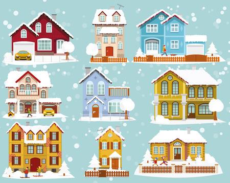 Vector illustration de la collection de maisons en hiver Banque d'images - 68864906