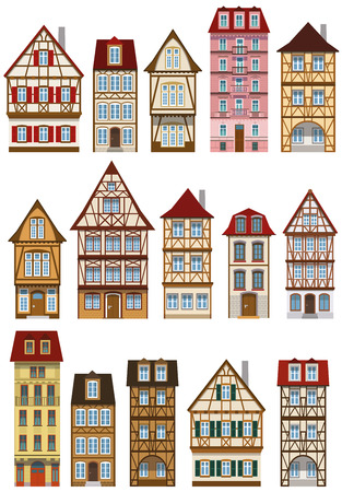 colmar: Vector illustration of classic european historical houses