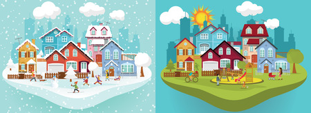 home and garden: Vector illustration -  Winter and Summer city landscape