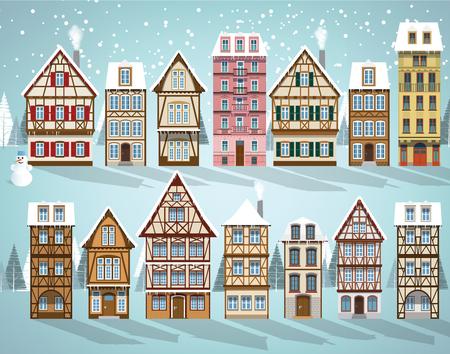 Vector illustration de la collection européenne de maisons (hiver) Banque d'images - 69302526