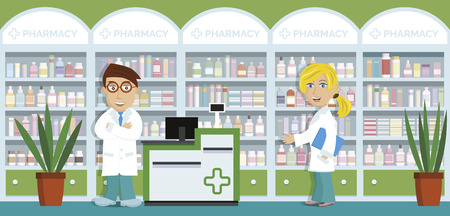 ampoule: Pharmacy - Vector illustration of drug stores