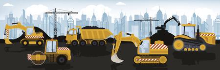 Illustration vectorielle de machines lourdes jaunes Banque d'images - 77424527