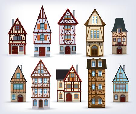 Illustration vectorielle des maisons à colombages européennes historica