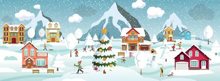 Vector illustration de paysage d & # 39 ; hiver et activités d & # 39 Banque d'images - 92138761