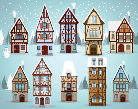 Vector illustration of european houses collection (Winter) Banque d'images - 92803293
