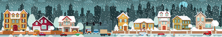 Vector illustration of city in winter, includes buildings, people, cars. Banque d'images - 95531644