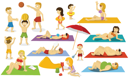 Vector illustration of people (Summer sports, activities, relaxation) Banque d'images - 105400528