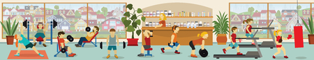 Vector illustration of people in the gym (various sports activities)