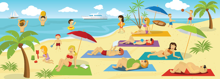 Vector illustration of people by the Sea (Summer sports, activities, relaxation) Illusztráció