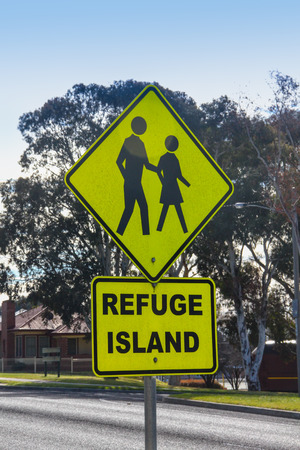 refuge: Road sign refuge island Stock Photo