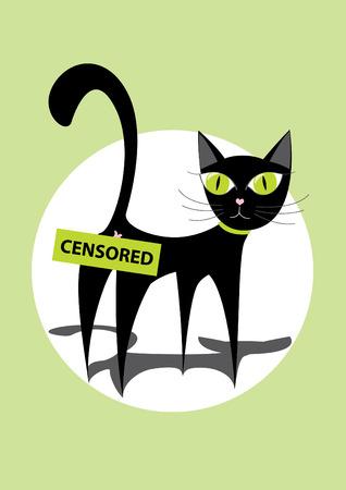 provocation: Black cartoon cat Illustration