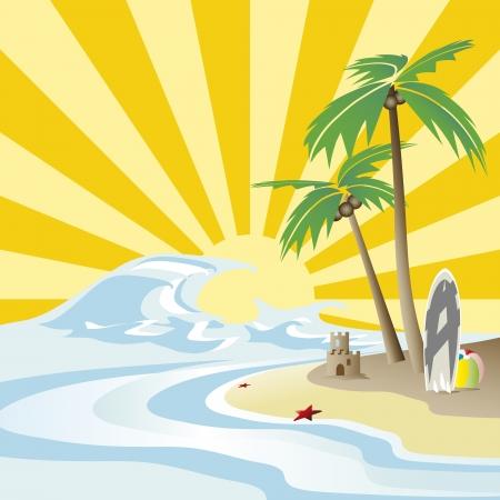 太陽、海と椰子の木  イラスト・ベクター素材