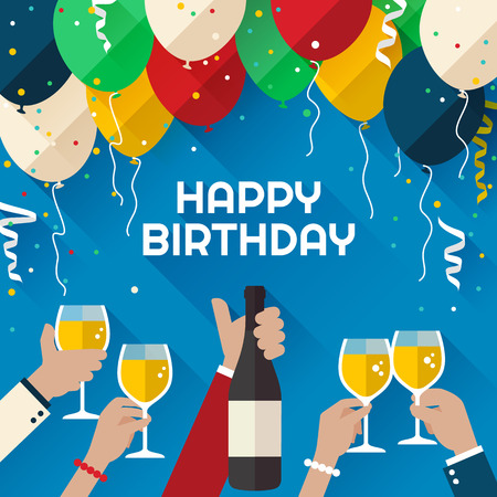 welcoming party: Birthday party. Announcement  poster  flyer  greeting card in a flat style Illustration