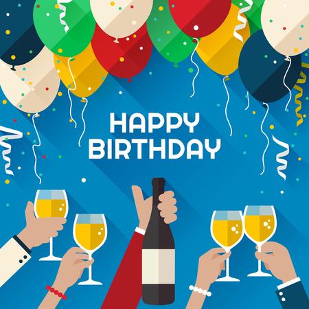 Narozeninová oslava. Oznámení  poster  flyer  přání v plochém stylu Ilustrace