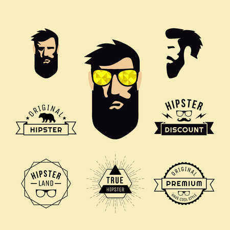 beautiful men: Hipster style of guy with sunglasses and collection of elements, labels for retro vintage design of website, info-graphics, invi