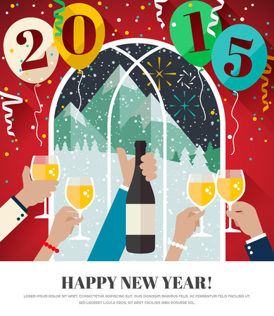 People celebrating in the mountains Happy New Year 2015 - greeting card in flat design style 일러스트