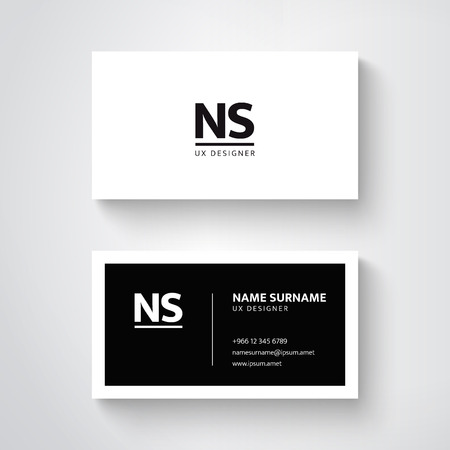Vector simple  business card template, clean design Ilustração