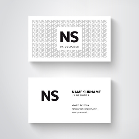 Vector simple  business card template, clean design Ilustrace