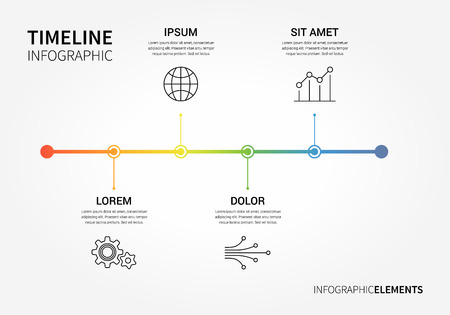 Vector timeline infographic with unfocused background and report template. Clean and modern style
