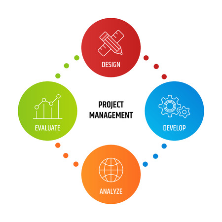 Diagram project Management business product development.Vector illustration Vettoriali