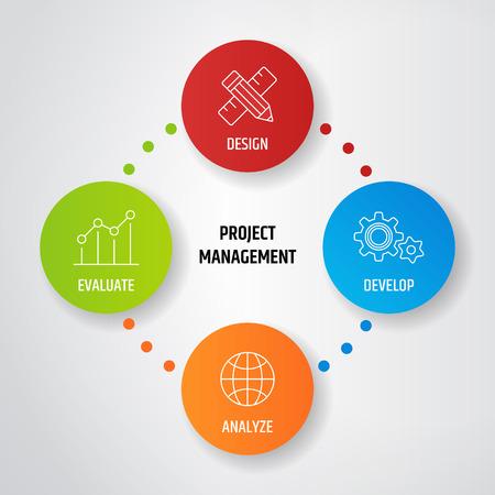 ダイアグラムでプロジェクト管理事業製品開発。ベクトル図  イラスト・ベクター素材