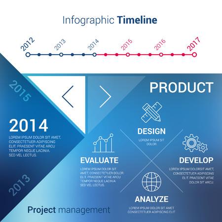 Vector Timeline Infografik und Funktionskonzept Diagramm Projekt-Management-Geschäft. Modernes Design mit unfocused Hintergrund Standard-Bild - 35080306