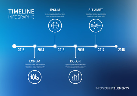 chronological: Vector timeline infographic with unfocused background and report template. Modern and clean design Illustration
