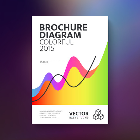 Abstract brochure with colorful diagram  book  flyer design template. Vector illustration